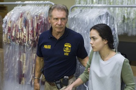 Max Brogan(Harrison Ford) with Mireya Sanchez(Alice Braga) in the all star cast Crossing Over
