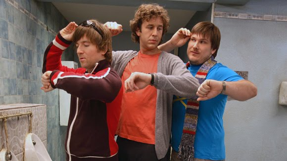 Pete (Dean Lennox Kelly), Ray (Chris O'Doyd) and Toby (Marc Wooton) try to recreate Pete's leap in time