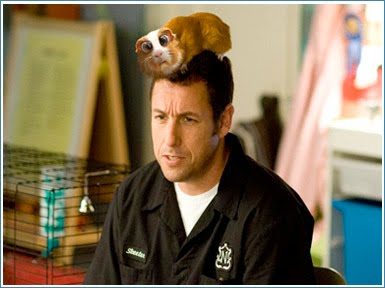 Skeet Bronson(Adam Sandler) entertaining his niece and nephew with a hamster with extremely large eyes!