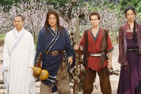 The stars of The Forbidden Kingdom, from left The Silent Monk(Jet Li), Lu Yan(Jackie Chan), Jason Tripitikas(Michael Angorano), and Golden Sparrow(Yifei Liu)
