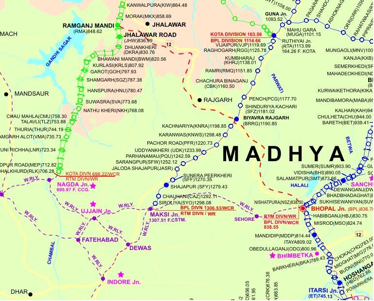 Railway Line Map RAMGANJMANDI –BHOPAL NEW RAIL LINE   Indian Rail Day to Day