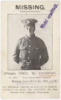 Fred Andrews died 1st July 1916 - The first day of the Battle of the Somme