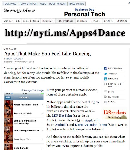 New York Times Apps for Dancing
