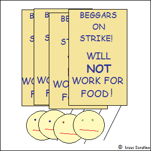 men holding signs:BEGGARS ON STRIKE! WILL *NOT* WORK FOR FOOD!