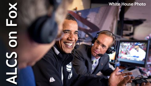 President Obama visits the Fox Sports broadcast Booth during the 2009 Major League Baseball All-Star Game