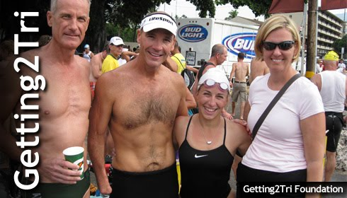 Paratriathletes meet at the 2009 Ironman in Kona
