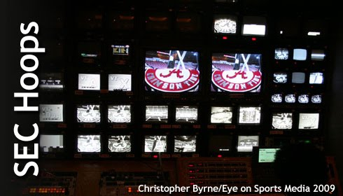 Inside a television production truck for a SEC Basketball game