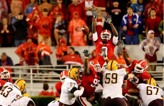 Georgia's A.J. Green Blocks Arizona State 37-yard Field Goal Attempt
