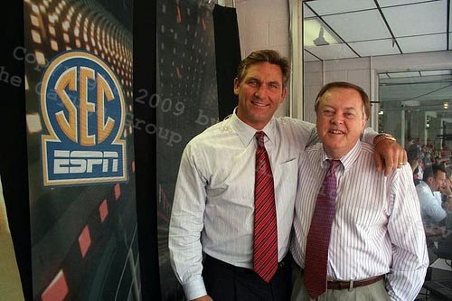 ESPN's Craig James and Mike Patrick before the University of South Carolina - University of Georgia kickoff on Saturday, September 12, 2009