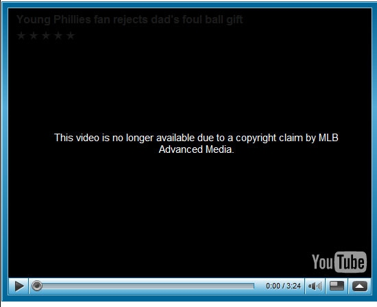 Screen shot of YouTube MLB Advanced Media Takedown Notice