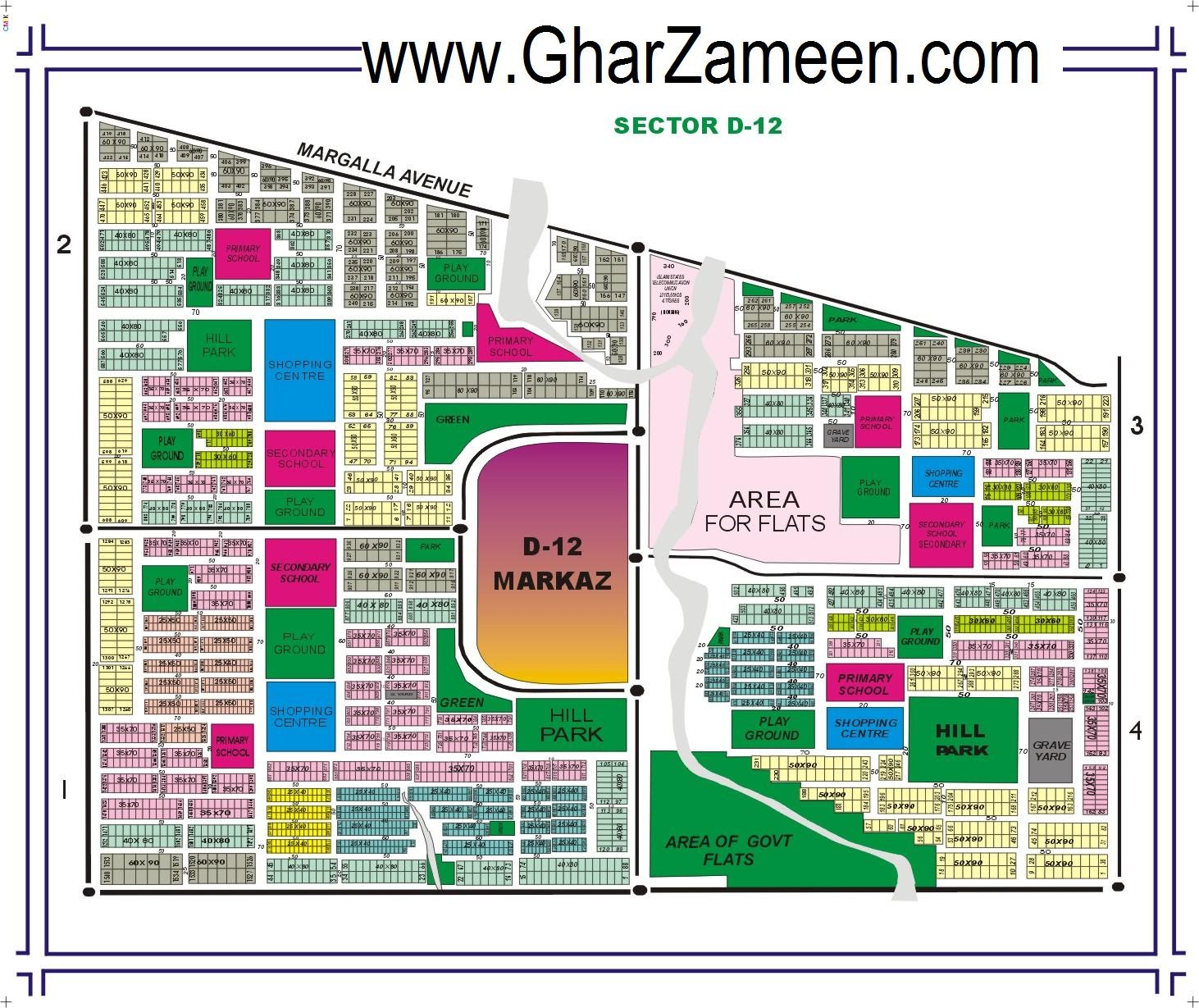 CDA Sector D-12 Map - Islamabad Property Maps