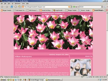2 Column Blogger Template: Pink Flowers