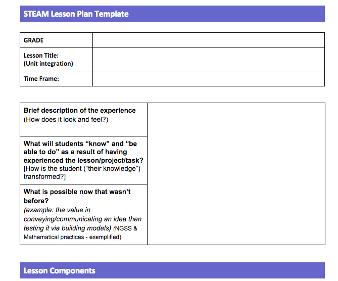 STEAM Lesson Plan Template iSTEAMmcnair – Lesson Plan Sites