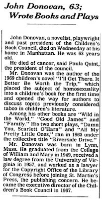John Donovan's Obituary appeared in the New York Times.