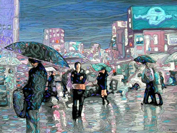 contemporary painting of people walking in the rain