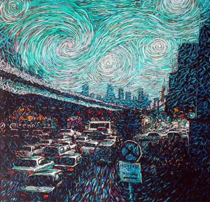 painting of nyc traffic