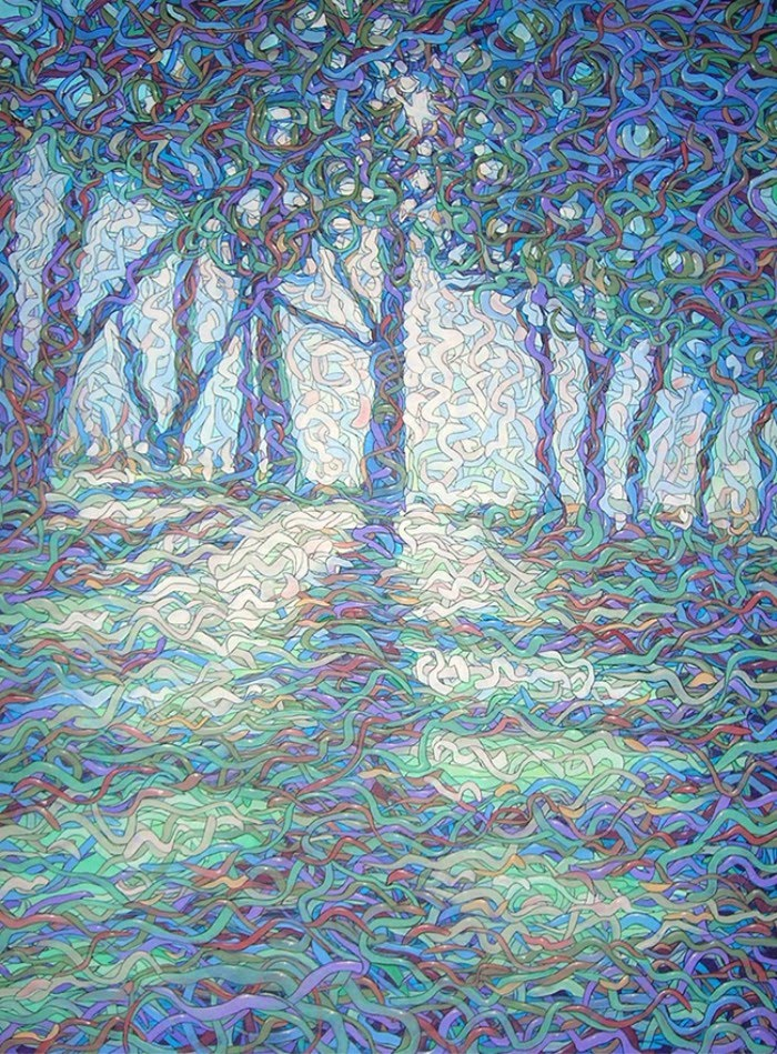 surreal painting of trees