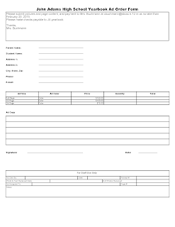 2015 Yearbook Senior Advertisement Form
