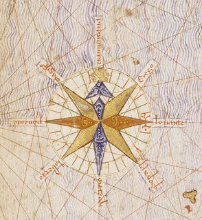 Compass rose from the Catalan Atlas of 1375. Attributed to Cresques Abraham.