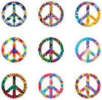 Image shows colorful peace symbols with rainbow colors.