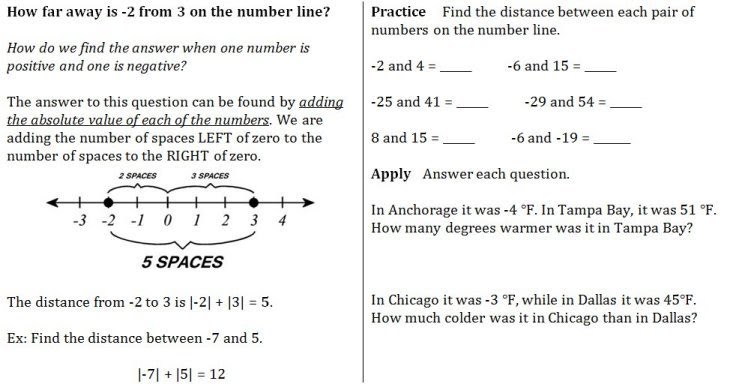 Week 2 Temperature Height and Distance Between Integers Mr – Integers on a Number Line Worksheet