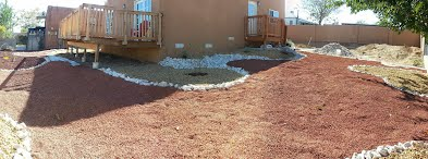 Weeds to decorative Xeriscaping near Central and Old Coors, Albuquerque, NM