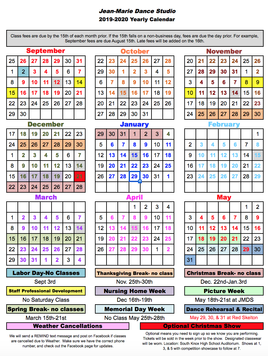 Yearly Calendars 2019 Yearly Calendar 2019 2020   Jean Marie Dance Studio