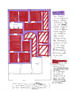 """One of our major concerns was ride throughput. In a choose your own adventure ride, some of the rooms will necessarily be different for different ride vehicles. However, making new rooms for each possibly storyline would be unbelievably wasteful, space-wise. This diagram explained the idea of dynamic rooms, which have changeable """"sets""""."""