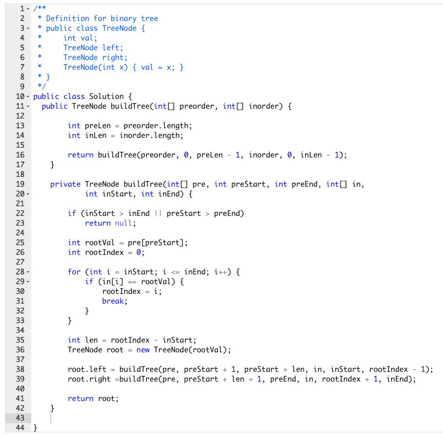 LC_105  Construct Binary Tree from Preorder and Inorder Traversal
