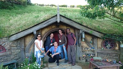 Jens with Li, Shawn, Thilini and Kamil in Hobbiton at the APSEC'16 conference dinner