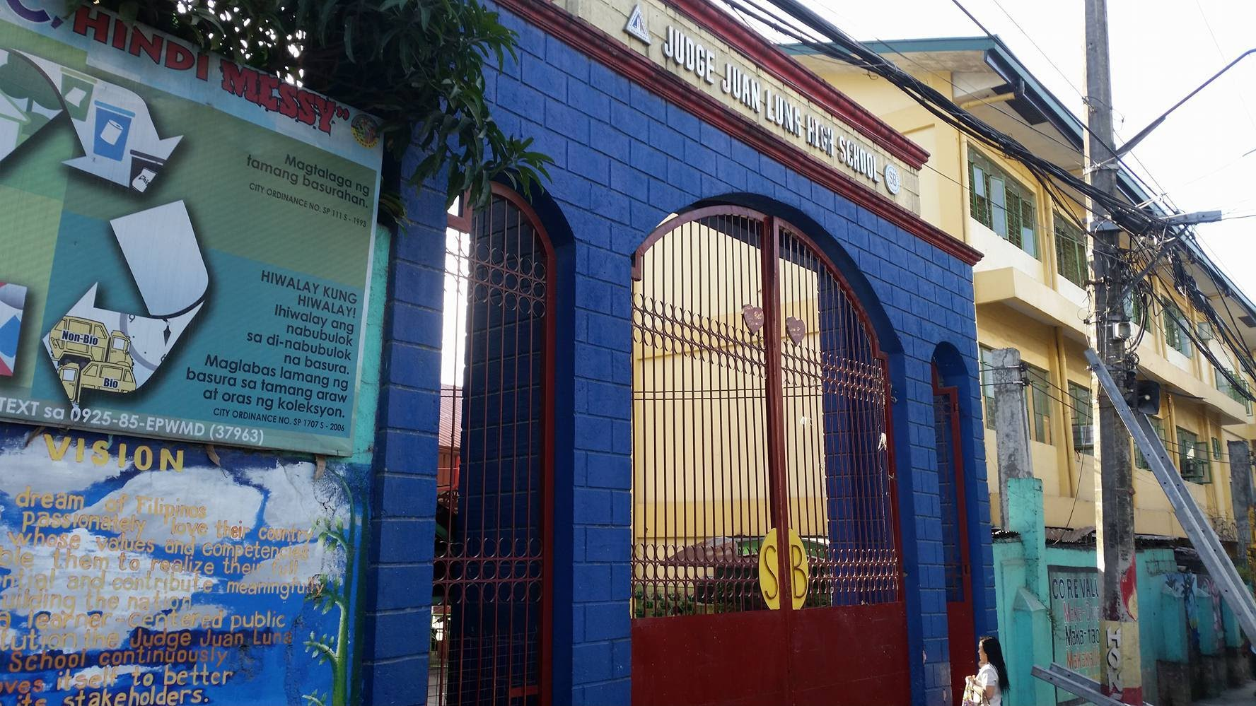 Name of Principal School Year Justo C. Ramos 1968-1972 Emilia Font 1972-1982 Aurora B. Taguba 1982-1983 Victorino V. Cano 1984-1988 Teresita N. Turia 1989-1991 Lilia A. Sahagun 1993-1994 Lumen G. Velasco 1993-1994 Eqxequil T. Calixtro 1994-1995 Paz M. Viloria 1995-1996 Sally M. Barcelona 1996-2001 Felicisima F. Tanedo 2001-2004 Jose B. Dividina 2004-2012 Lucia D. Herrera December 2012-July 17, 2015 Leila V. Ancheta July 20, 2015-present   The Judge Juan Luna High School Had experienced the most tragic event in its history when the fire broke out on February 16, 2005 at exactly 7:10 p.m. Burning the four buildings the Cano Building, the Font Building, the Ramos Building and the Taguba Building, sparing the Calalay Building, ang the Mathay Building. The cause of the fire was accident in nature. Two thousand eight hundred eighty-eight (2,888) students were affected by the tragedy. Classes were suspended by two days. (February 17 and 18) and resumed on February 21, 2005. The first year students were housed at Esteban Abada Elementary School while the second year students were accommodated at the Barangay Bungad Elementary Covered Court. The third year held their classes at the Mathay Building in the morning while the Fourth year in the afternoon. The Calalay Building was not used, for the safety of the students and the school personnel, while clearing on the fire remnants were going on.  Mr. Jose Dividina was transferred to JJLHS on june 5, 2006 as Principal III. As a visionary administrator, he was instrument in the realization for the completion of another two buildings-SB and DepEd. Through his leadership, donations from benefactors such as NGOs, LGUs, and other civic-minded people poured in. The shortage for computers, books and other teaching materials had been solved; resulting to a much-improved school performance in the succeeding years.  Mrs. Lucia D. Herrera was transferred to Judge Juan Luna High School on December 10,2012 due to forced retirement of Dr. Jose