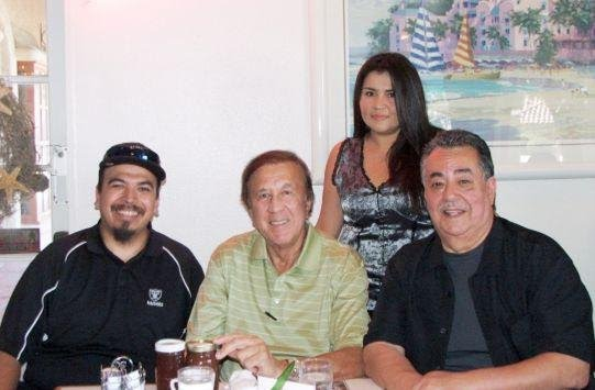 Original fan club team including Michael Mendoza and Liz Campos with Tom Flores and Joe Ortiz
