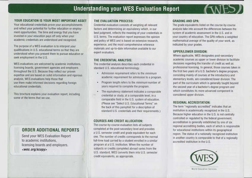 Articulated Transcript(WES) Cousre By Course Evaluated GPA