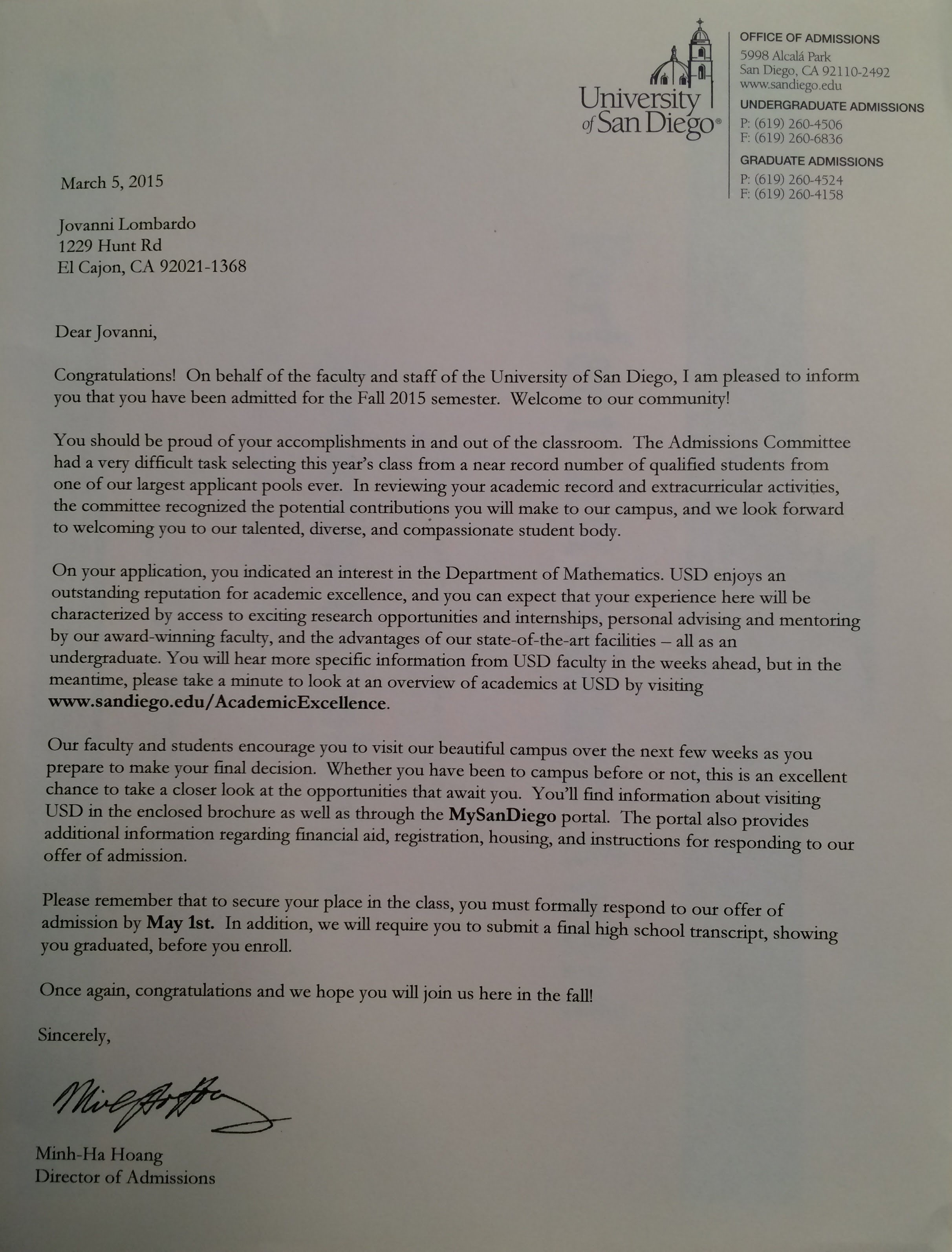 letter of college acceptance jovi lombardo s career portfolio to get accepted there an acceptance letter from usd requires outstanding grades and test scores extracurricular activities and community service