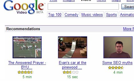 personalized recommendations from Google video