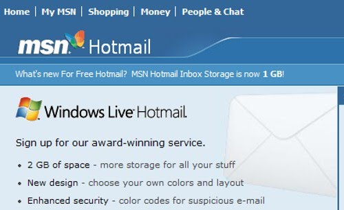 "MSN upgraded Hotmail from ""MSN Hotmail"" to ""Windows Live Hotmail ..."