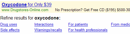 oxycodone on google