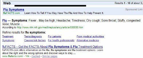 Google SERP for flu symptoms close up