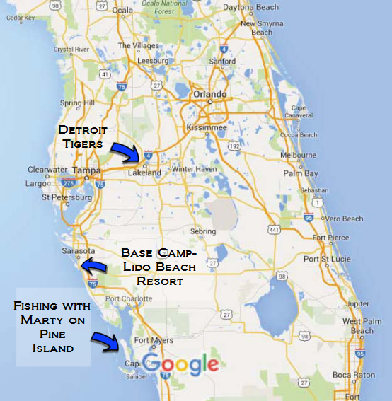 Map of Central Florida - KD Reunion Spring Training 2016