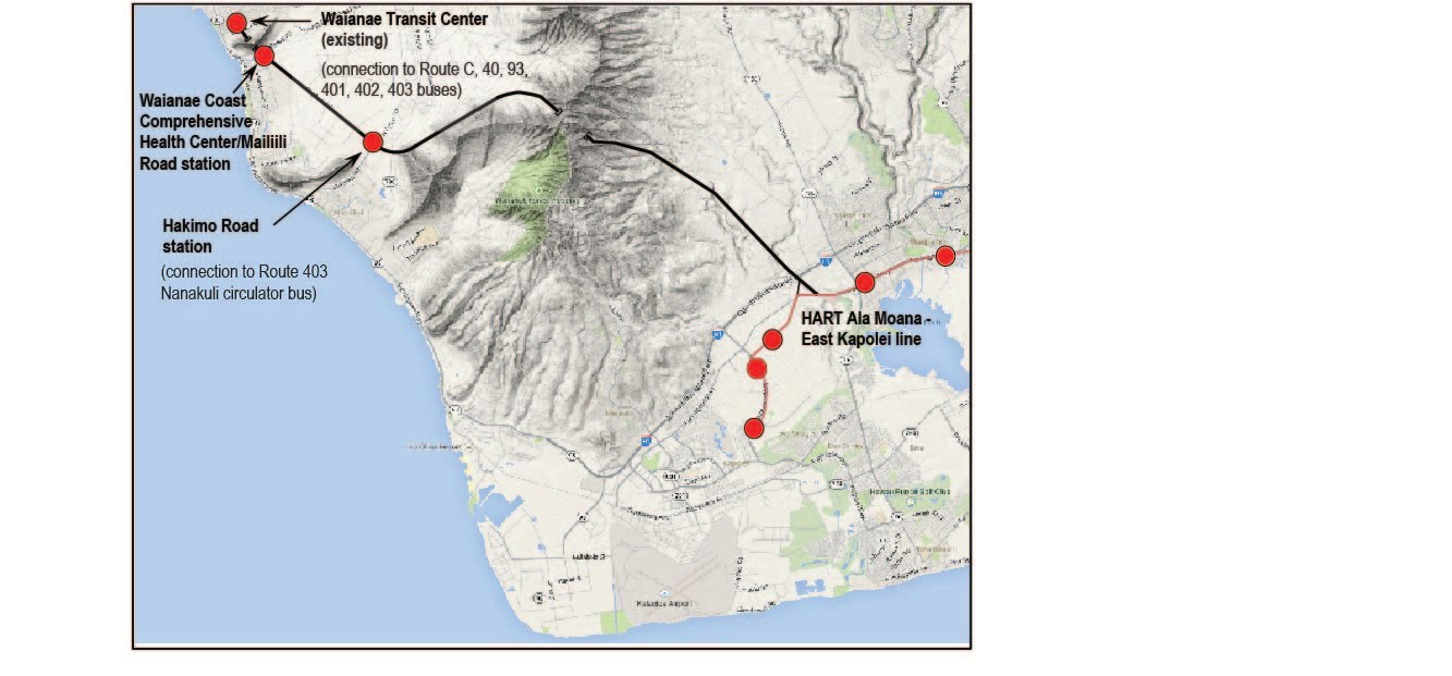 Map of Waianae Direct line showing connection to HART and approximate location of the two tunnels. Revised 10/14.