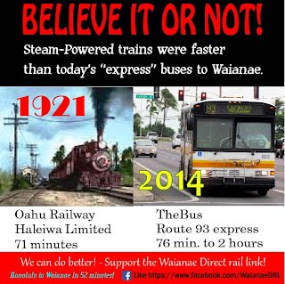 Today's bus service is actually far slower than the steam-powered trains on the former O'ahu Railway.