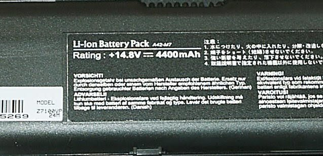 Asus A42-M7 70-N9Q1B1100 battery rating