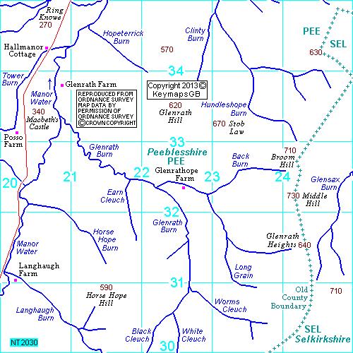 Buy Ordnance Survey Maps NT2030 maptile, Glenrath, Peeblesshire   KeymapsGB Buy Ordnance Survey Maps