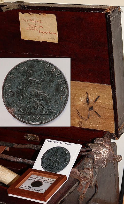 1886 Rosewood Penny on display with Mrs Tom Kilfoyle's Travel Trunk and Rosewood Branding Irons