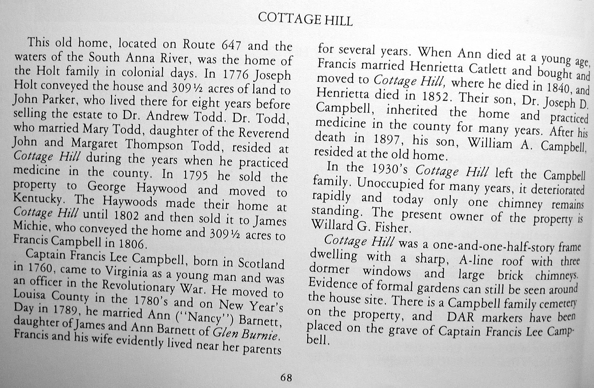 Text describing Cottage Hill