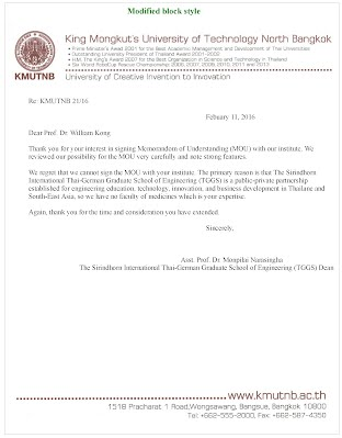 Format Of Acceptance Letter And Refusal Letter