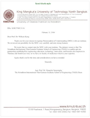 Format Of Acceptance Letter And Refusal Letter - 3Rd Week