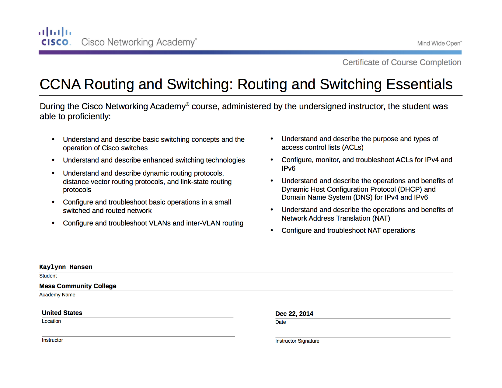 Course Completion CCNA: Routing and Switching Essentials