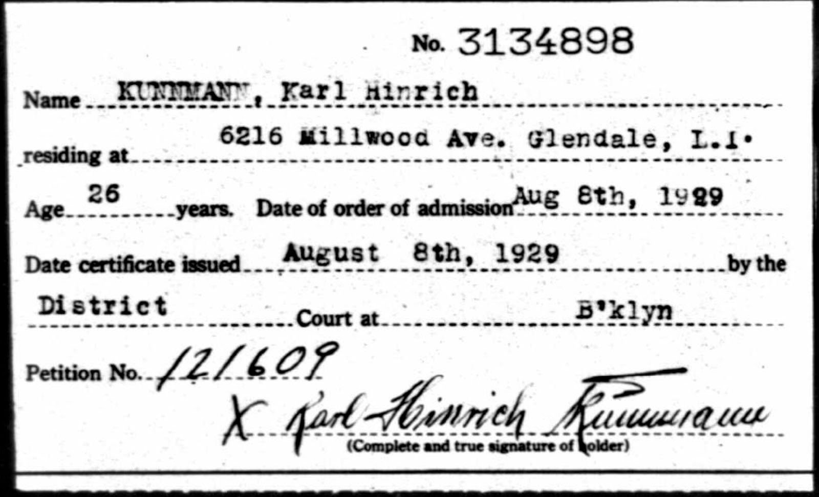 Certificate of naturalization kunnmanns in america given to the new citizen and a stub of the certificate was kept in the court to prove it was issued a duplicate of the petition was sent to the ins 1betcityfo Choice Image