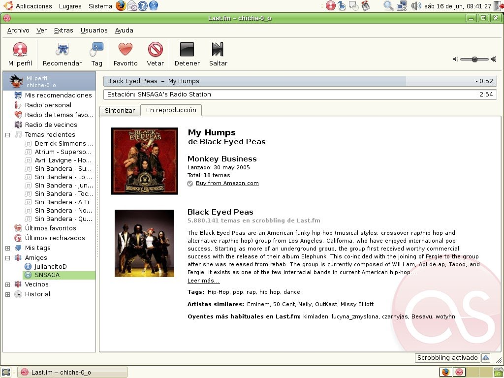 ScreenShot de mi Last.FM
